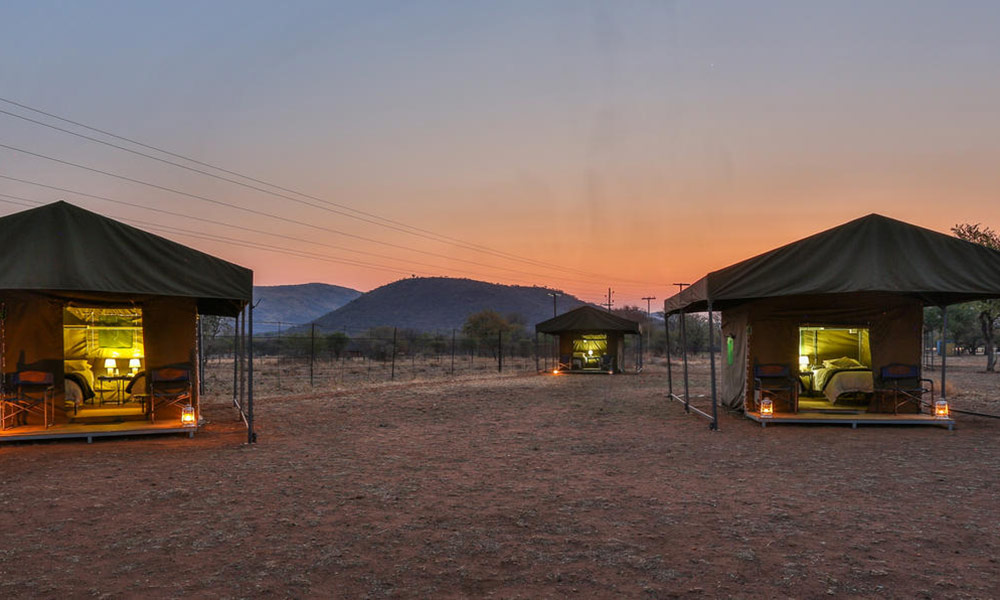Tented Adventures camp at night